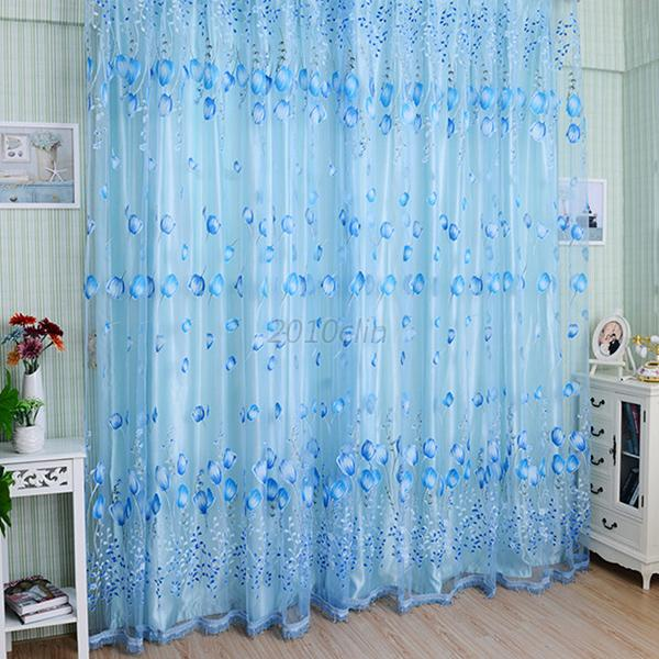 Floral Tulle Window Screening Curtain Drape Door Scarfs Valance Bead Tassel C14