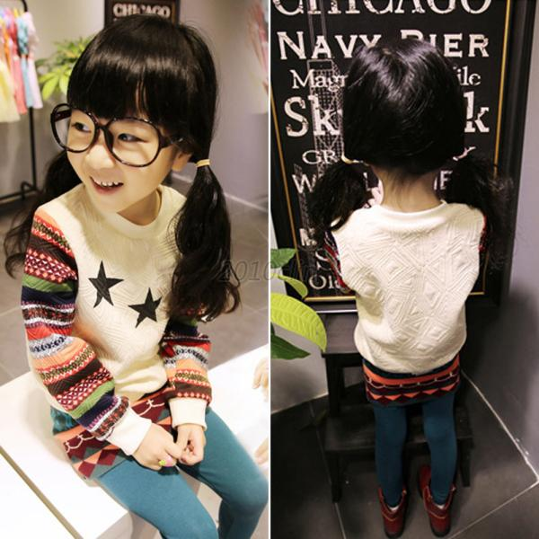 Retro Toddler Kids Winter Sweater Tops Star Print Coat Girl Sweatshirt S-XXL C15