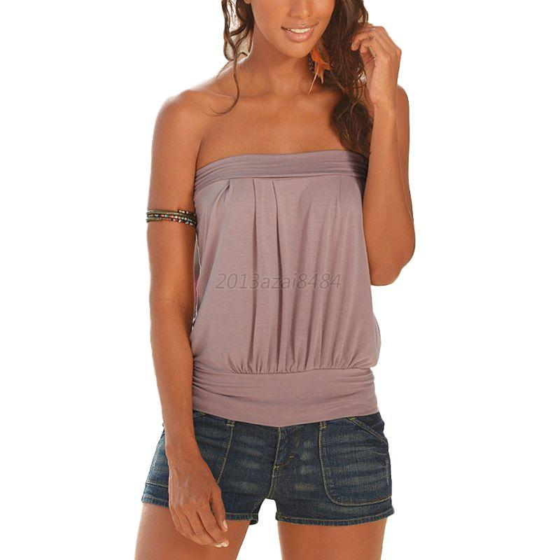 Womens sleeveless strapless tube top bandeau stretch for Tube top pictures