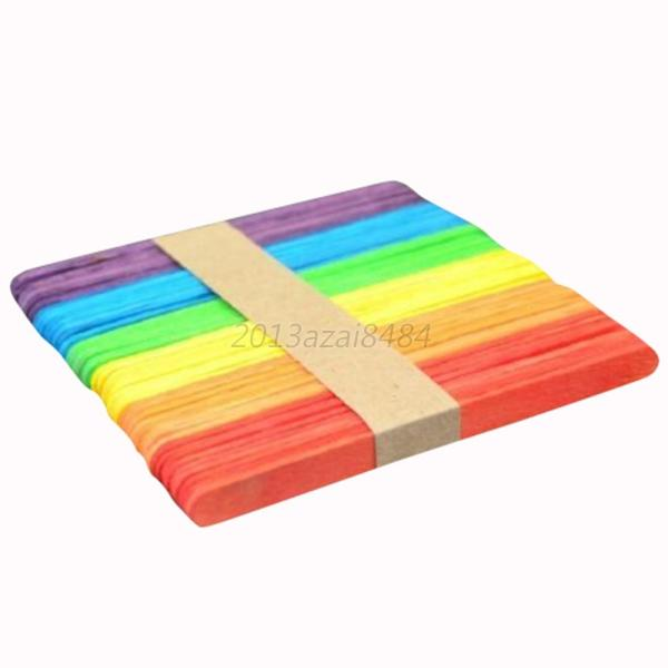 50Pcs Popsicle Kids Stick Ice Wooden Cream Hand Making Art Lolly RT A80