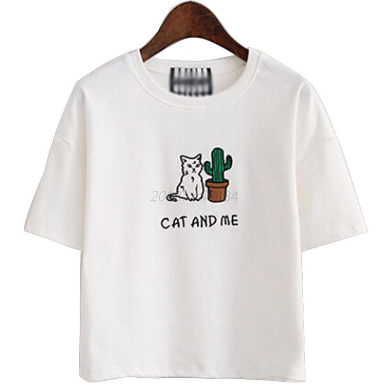 Vogue Womens Casual Crew Neck T-shirts Cartoon Print Blouse Tops Shirts Tops New