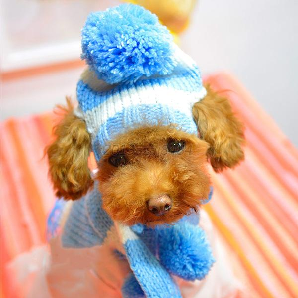 Snow Dog Knitting Pattern Free : Puppy Pet Dog Cat Knit Snow-Hat Scarf Handmade Pet Clothes Apparel Accessorie...