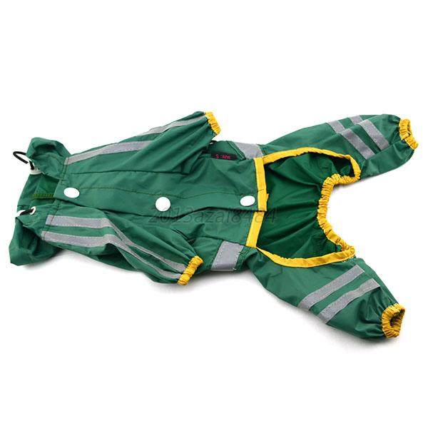 Pet Raincoat Dog Cat Green/ Yellow/ Red Rain Coats XS-3XL Jumpsuit Clothes