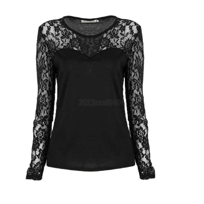 Sexy Women's Summer Lace Top Long Sleeve Shirt Blouse Clothing Tank Tops T-Shirt