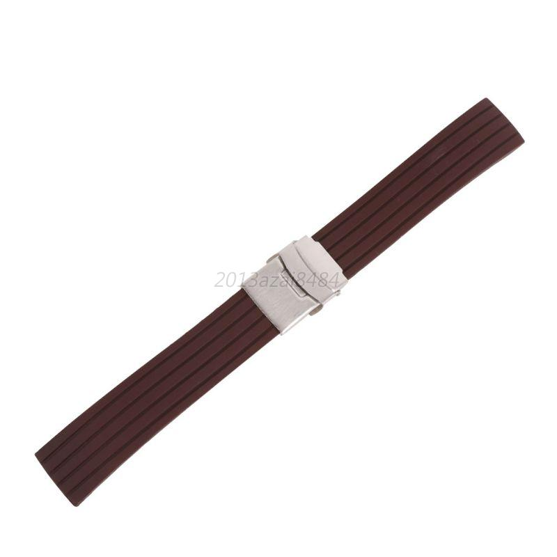 Silicone Rubber Waterproof Watch Band Strap Deployment Buckle 16 18 20 22 24mm