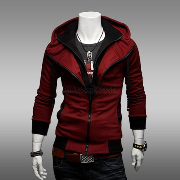 Korean Men's Slim Fit Zipper Hoodie Jacket Coat Long Sleeve Sweatshirt Tops A83