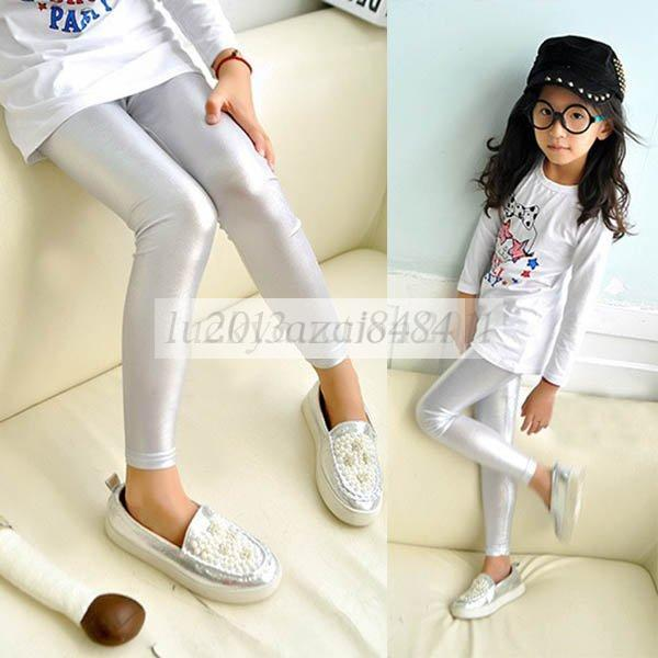 New Kids Girls Rose Silver Color Stretch Skinny Leggings Pants Trousers 2-7Years