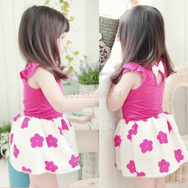 1PC Baby Kids Girl Pleated Short Sleeves Dress Floral Pattern Skirt Clothes 1-6Y