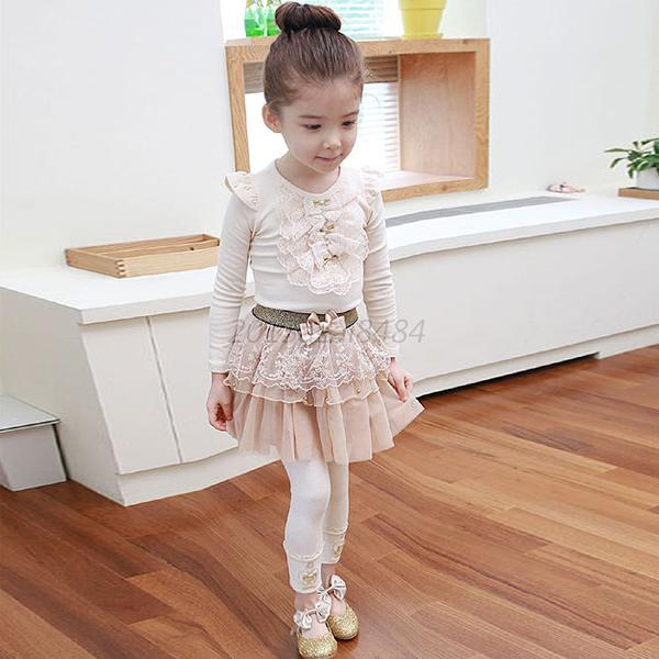 Soft Cotton Blouse Kids Toddler Girl Tops Round Collar Long Sleeve T-shirt 1-4 Y