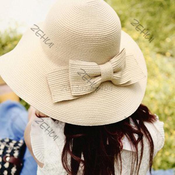Vogue Women Girl Wide Brim Bowknot Floppy Straw Hat Sun Hat Summer Beach Cap A47