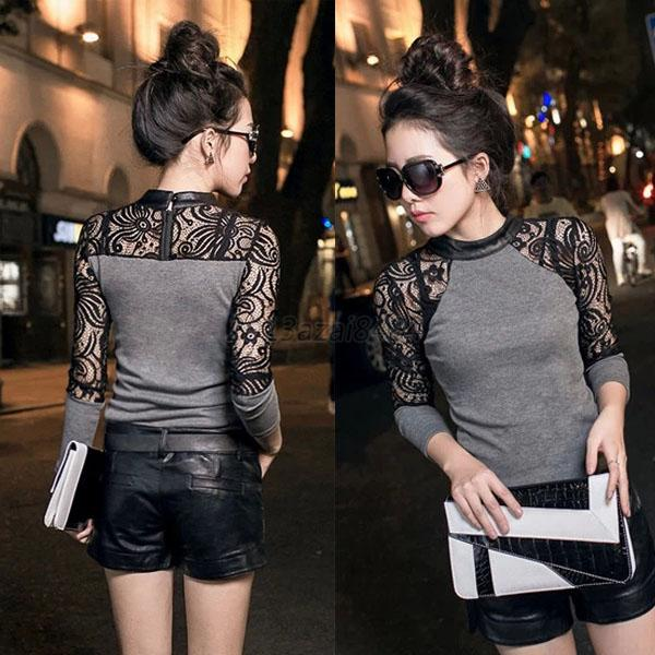 Spring Autumn Winter Floral Lace Sweater Long Sleeve Blouse Shirt Slim Women A24