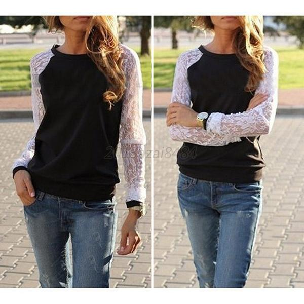 Spring Autumn Women's Long Sleeve Lace Hoodies Sweatshirt Pullover Clothing Coat