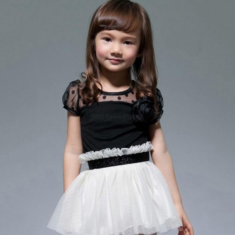 Toddler Kids Flower Tutu Dress Tulle Lace Yarn One-piece Girls Party Dress A93