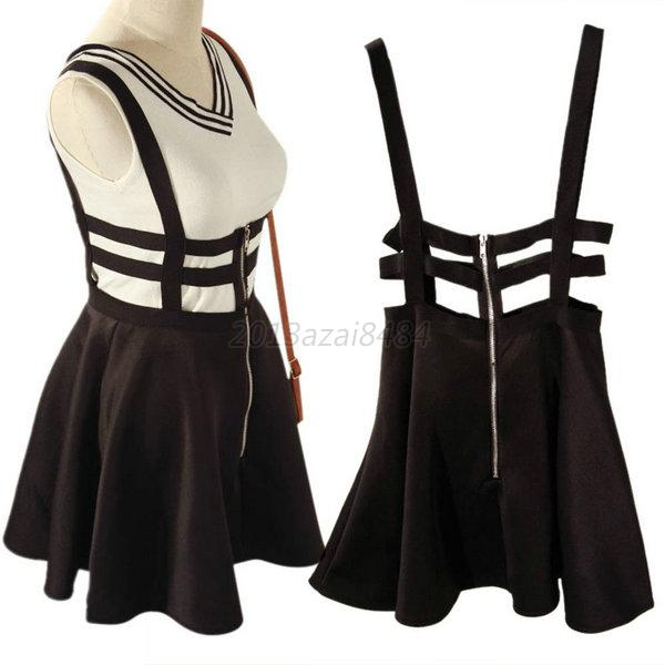 Retro Hollow Mini Skater Cute Women Suspender Skirt Straps High Waist Dress A61