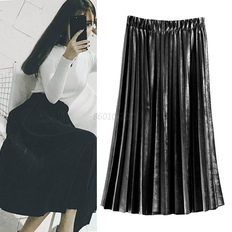 Women-High-Waist-Skater-Flared-Pleated-Swing-Long-Skirt-Velvet-Maxi-Beach-Dress