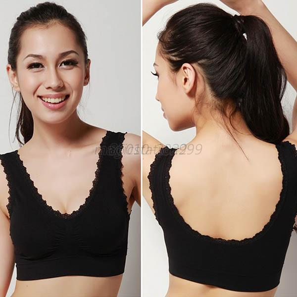 Casual Women Solid Lace Yoga Fitness Sport Bra Padded Bra Crop Top Stretch  Vest 09beb8220