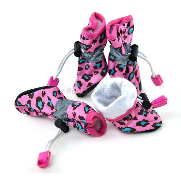 Cute Pet Dog Leopard Rubber Sole Waterproof Boots Protect Rain Shoes Booties B49