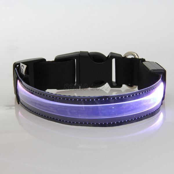 Dog Pet LED Glow Collar Flash Light Up Safety Nylon Adjustable Collar S/M/L/XL