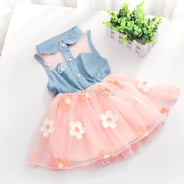 2-7Y Girl Baby Kid Clothes Lace Denim Shirt Tulle Skirt Princess Tutu Dress B42