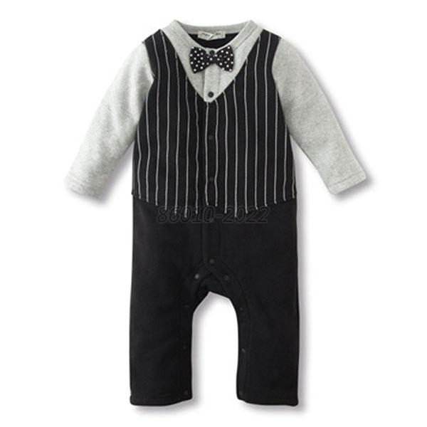 Boy Baby Kids Toddler Bowknot Gentleman Romper Jumpsuit Clothes Outfit 0-18M new