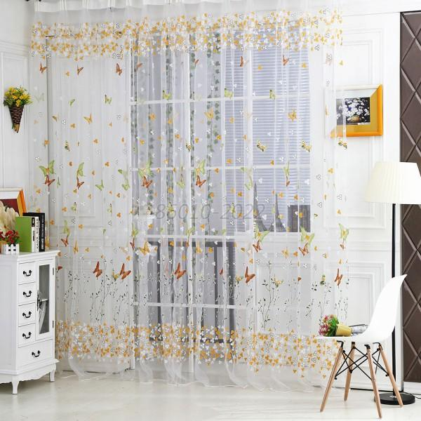 Vogue Butterfly Voile Window Curtain Sheer Panel Drapes Scarfs Room Curtains B67