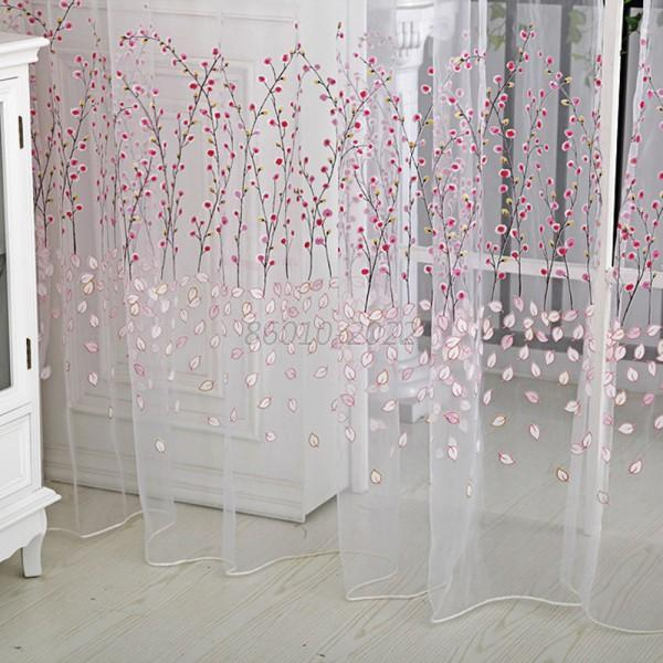 Floral Tulle Door Window Curtain Drape Panel Sheer Scarf Valances Fashion B10