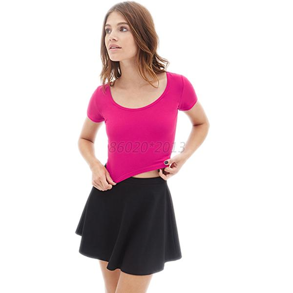 Lady Short Sleeves Basic Tees Clubwear Womens Blouse Tops Cropped T-shirt Sexy