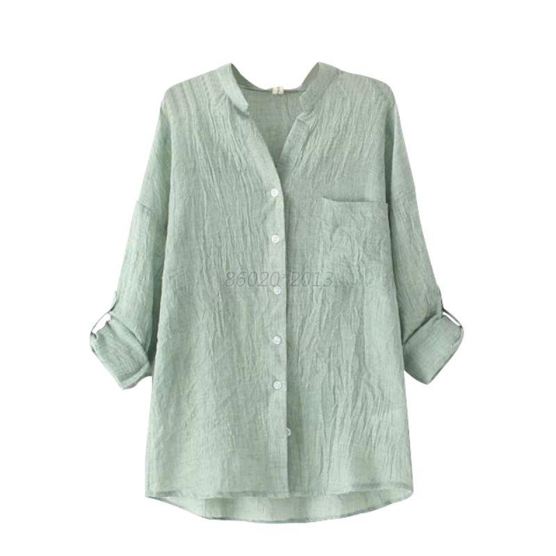 Womens Blouse Long Sleeve Tops Sheer Ladies Cotton Linen