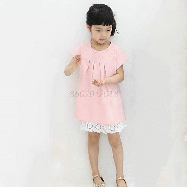 Cute Kids Girl Short Sleeve Dark Blue/Pink Solid Color Cotton Blend Casual Dress
