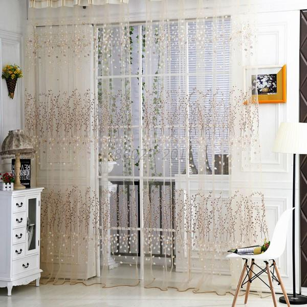 Romantic Pastoral Voile Tulle Flower Door Valances Panel Window Balcony Curtain