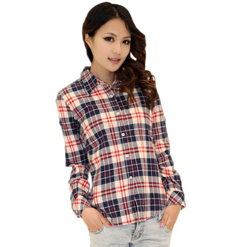 Uk Womens Plaid Check Lapel Shirt Long Sleeve Flannel