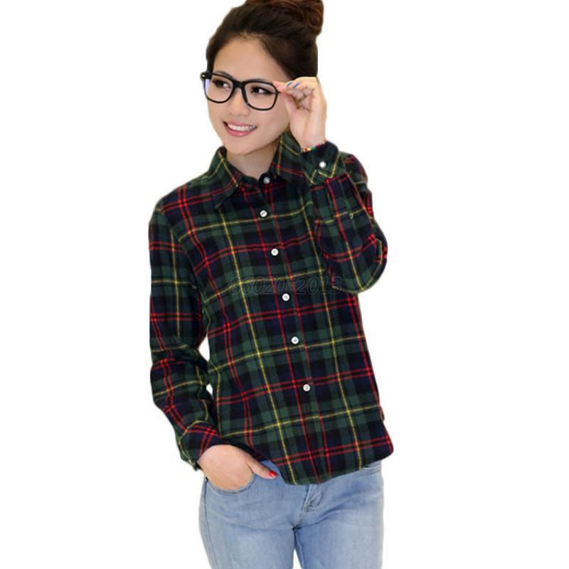 Uk womens plaid check lapel shirt long sleeve flannel Womens red plaid shirts blouses