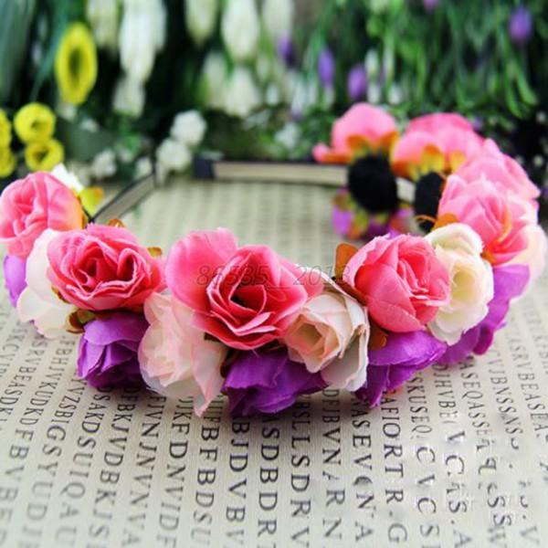Wedding Rose Flower Crown Headband Garland Hairband Double Row Floral Festival
