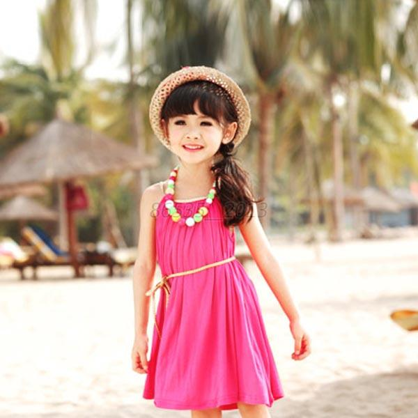 Summer Girls Kid Baby Beach Sleeveless TuTu Dress Sundress Belt Skirts 1-6Y Q56