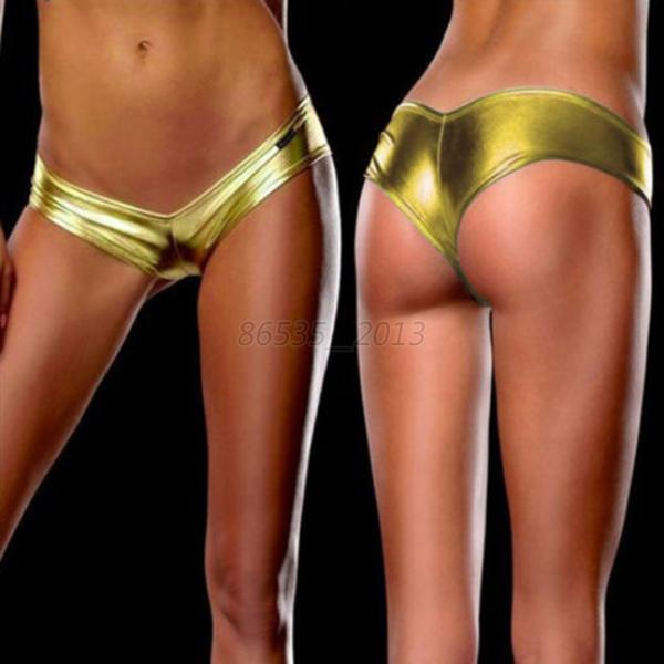 Glamour Womens Metallic Lingerie G-String Thongs Underwear Bikini Briefs  Q97