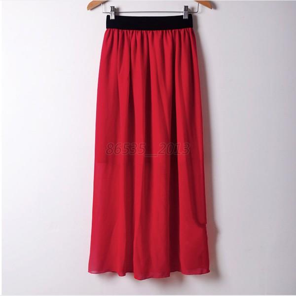 Women Chiffon Pleated Maxi Dress Elastic Waist Skirt Full Length Multi Color Q21