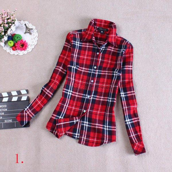 8 types women classic plaids checks shirt flannel shirts for Types of flannel shirts