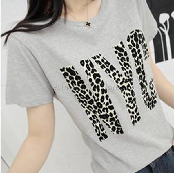 Korean Fashion Women's Leopard Print Short Sleeve Casual T-Shirt Tops Blouse