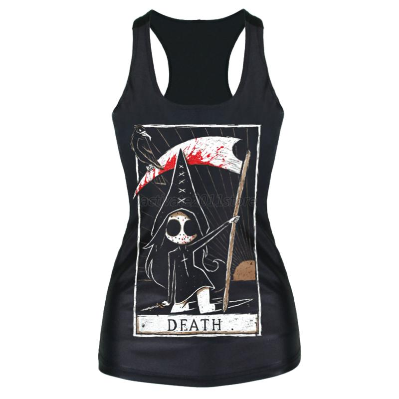 Sexy Punk Womens Digital Print Gothic Tank Top Vest Blouse Rock Tee Camisole A33