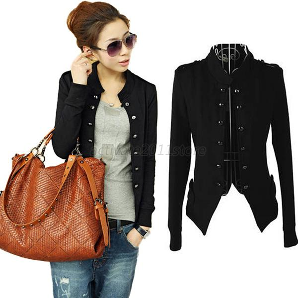 Fashion Womens Ladies Jacket Military Short Jacket Double ...