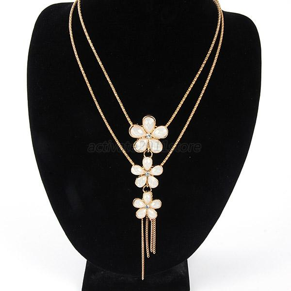 Women Crystal Flower Statement Bib Necklace Layered Long Chain Sweater Pendant