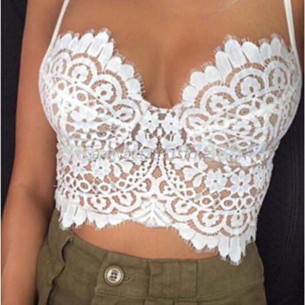 New Women Sexy Fit Bralet Bra V Neck Camisole Lace Tank Vest Bustier Crop Tops