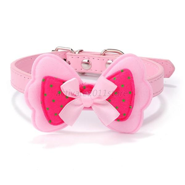 Hot Polka Dots Bow Pet Dog Collar Leather Pet Choker Puppy Cat Necklace XS-L A62