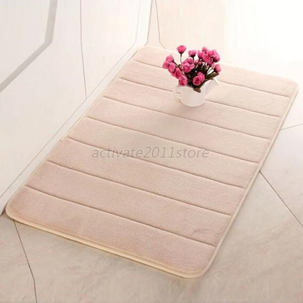 Velvet carpet slip resistant mat bathroom floor mat anti slide absorbent pad rug ebay for Slip resistant bathroom flooring