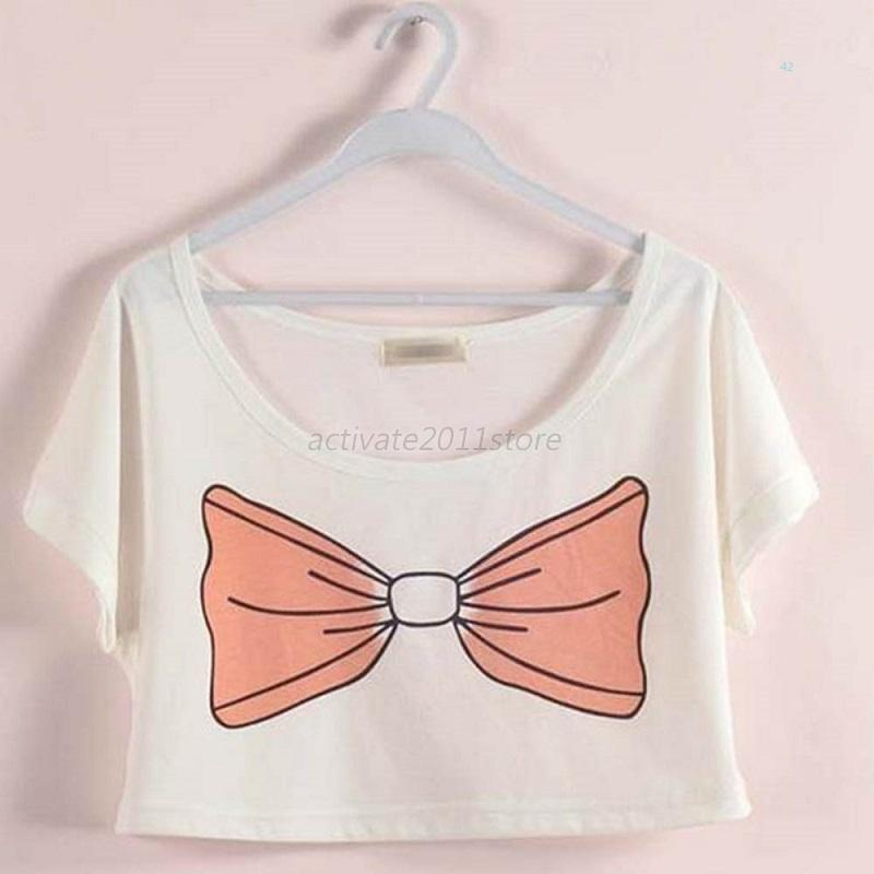 New Women's Batwing Short Sleeve Crop Tops Crew Neck Loose Short T Shirts Blouse