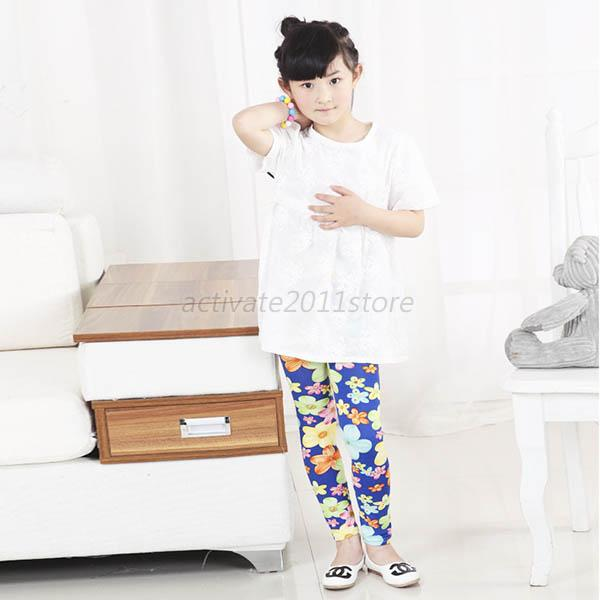 Multi Colors Kids Girl Child Pants Skinny Tight Leggings Trousers Size 2-7 Years