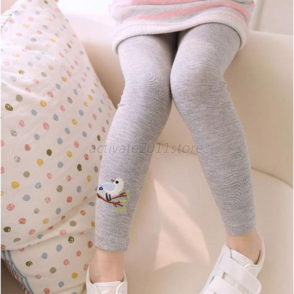 Toddler Kids Girls Baby Cotton Pants Bird Pattern Stretch Warm Long Trousers New