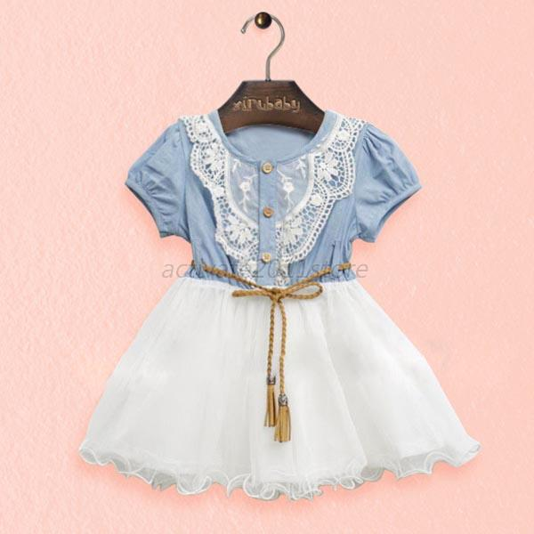 Toddlers Kids Girls Short Sleeve Denim Lace Tutu Tulle Dress Party Costume A84