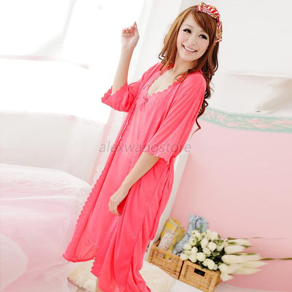 2Set Women Girls Sexy Sling Lingerie Silk Nightgown Nightdress Suit Pajamas