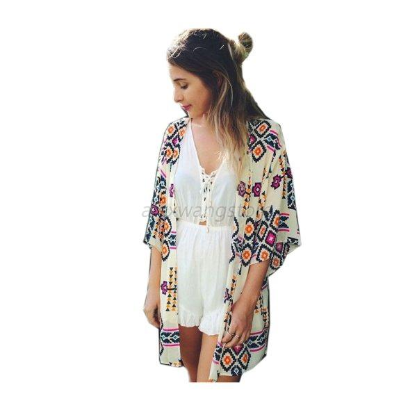 Vintage Womens Ladies Print Kimono Cardigan Loose Blouse Party Tops Cover A73